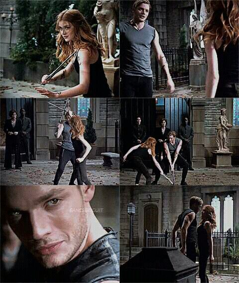 Jace and Clary training in the sneak peek of episode 2x12 #Shadowhunters