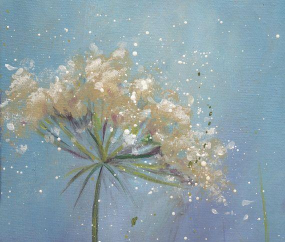 Fleurs blanches peinture petite peinture à par SnowtreeGallery