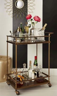 I like what they did with the walls... pretty bar cart