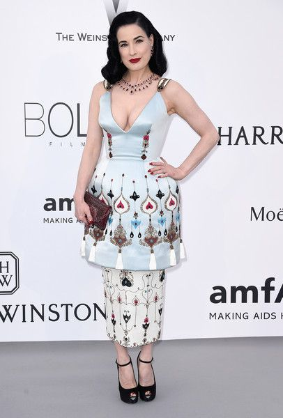 Dita Von Teese Cocktail Dress - At the amfAR Cinema Against AIDS Gala, Dita Von Teese worked an exaggerated hourglass silhouette in this Ulyana Sergeenko Couture embroidered dress, featuring bell-shaped hips with a pencil skirt underlay.