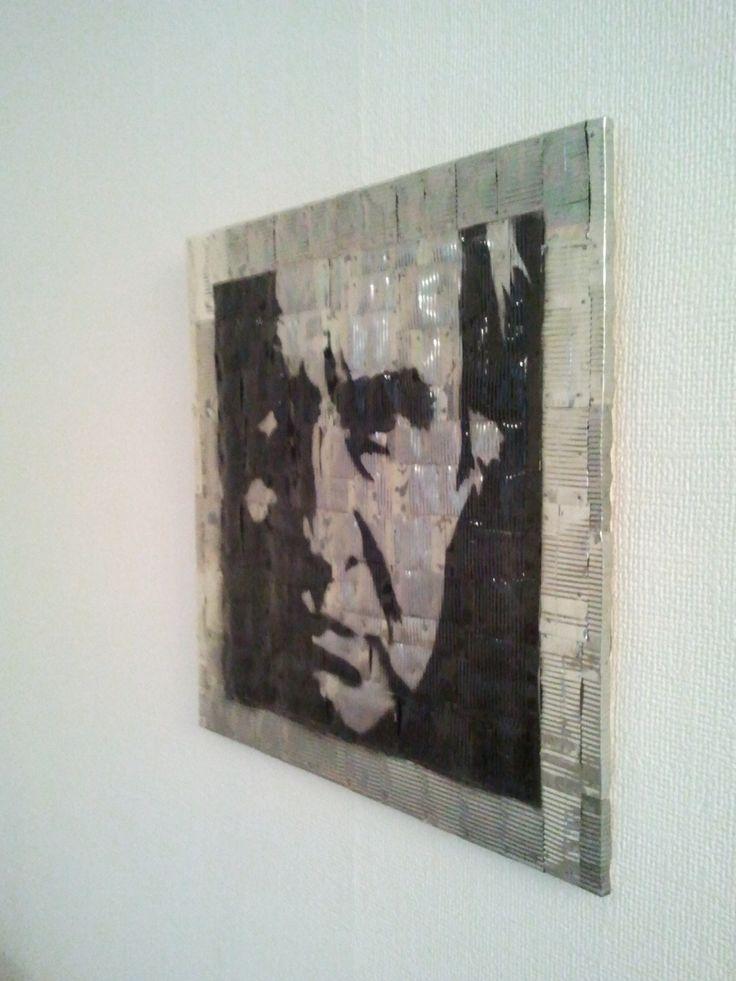 """Blechbild Motiv """"Johnny Cash"""" aus alten Konservendosen (Größe 50x60 cm)"""