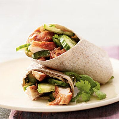 Thai Chicken Wraps  A little bit of satay peanut sauce gives these wraps plenty of Thai-inspired taste. Plus, the cucumbers and whole-wheat tortillas provide 4 grams of filling fiber.     Ingredients: Skinless chicken breasts, olive oil, cucumber, cilantro, whole-wheat tortillas, satay peanut sauce