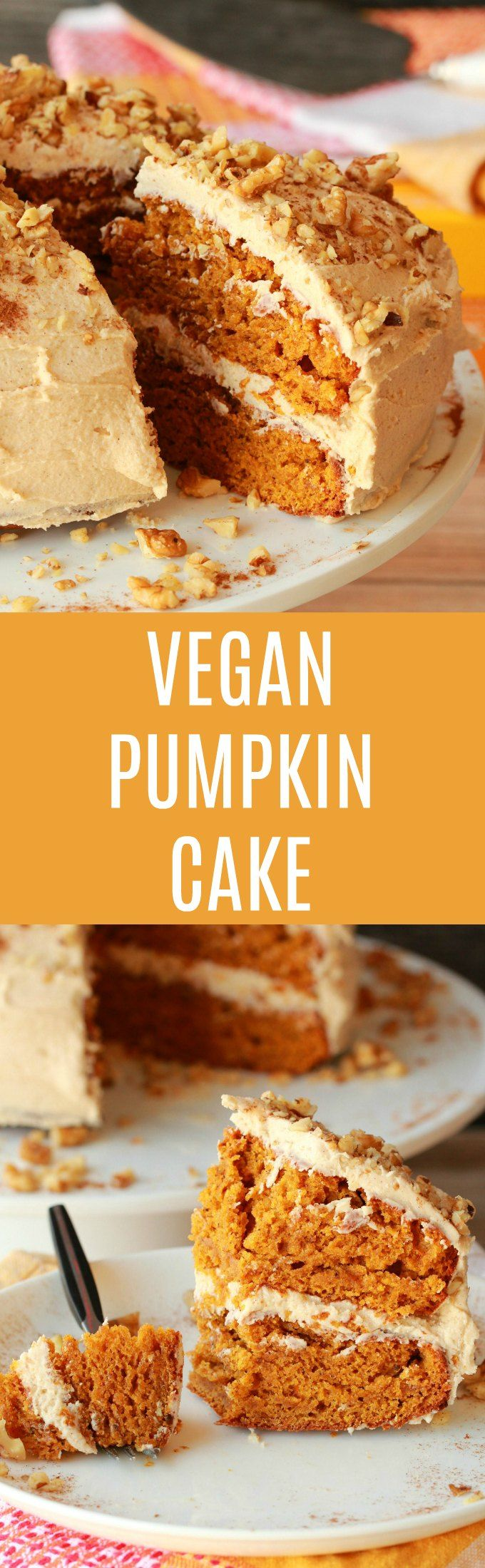 Perfectly moist and utterly delicious vegan pumpkin cake with a cinnamon buttercream frosting. Spicy and colorful and ideal for any special occasion! Vegan | Vegan Cake | Vegan Dessert | Dairy Free #vegan #vegancake #vegandessert #pumpkincake