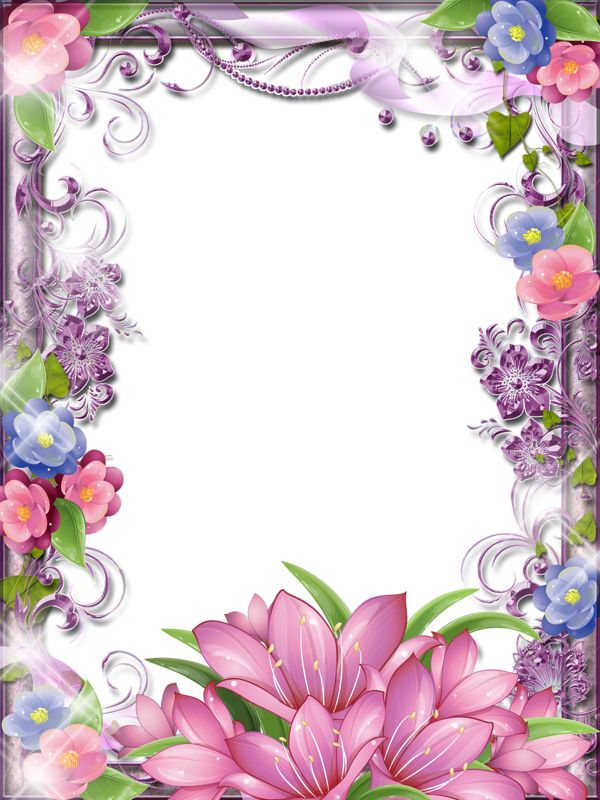 Very glittery, sparkle, pink and purple flower girlie border / frame art.