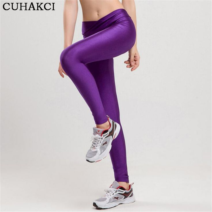 2017 V High Waist Candy Colors Neon Sportswear Workout Leggings Women Pants Fashion Jegging Elastic Strtched Shiny K086