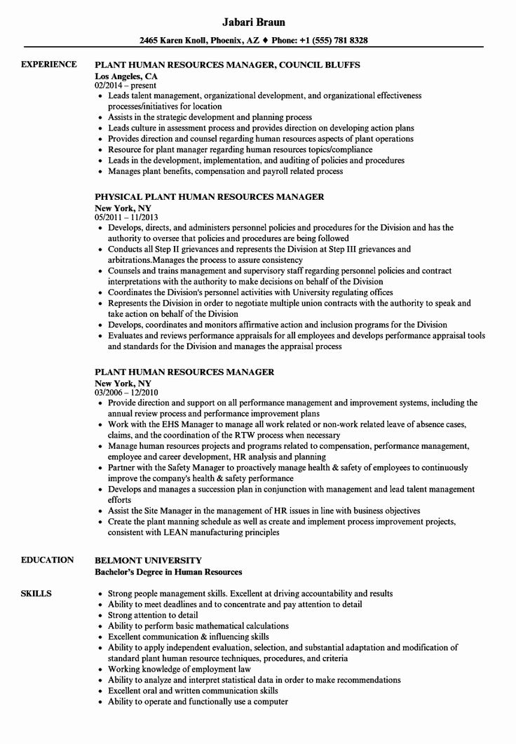 Human Resource Manager Resume Examples Best Of Plant Human