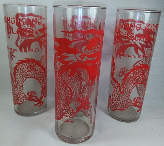 Tiki Glasses, Chinese Restaurant Drinking Glasses, Barware, Hong Kong Island Restaurant, Wareham, Massachusetts, Dragons, Mancave, Set of 4