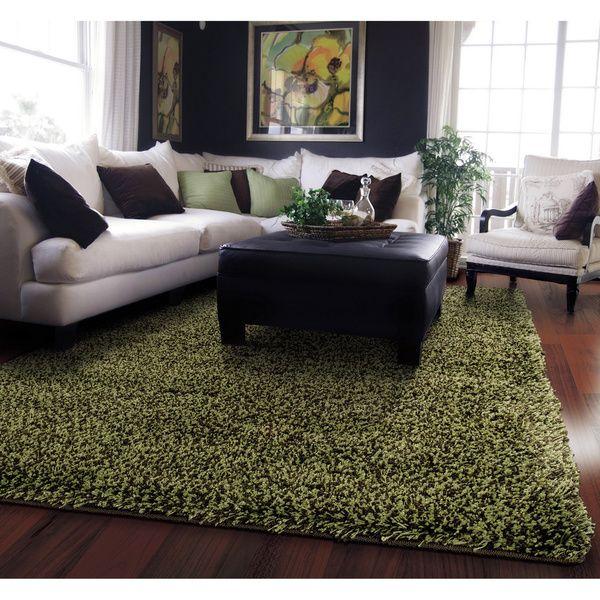 manhattan tweed green brown shag rug 5u0027 x