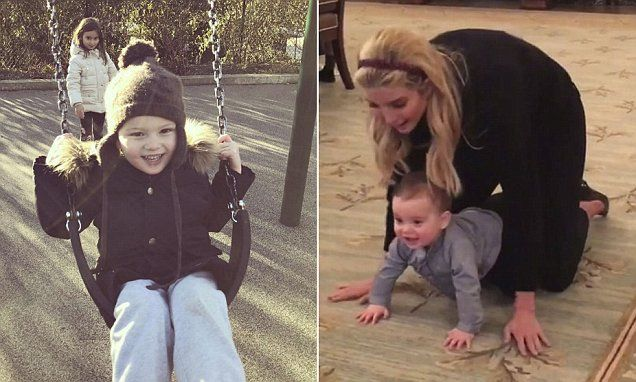 The adorable photo, shared to Ivanka Trump's Instagram on Thursday night, shows five-year-old Arabella pushing a bundled-up Joseph, three, on a swing at a Washington, DC, park.