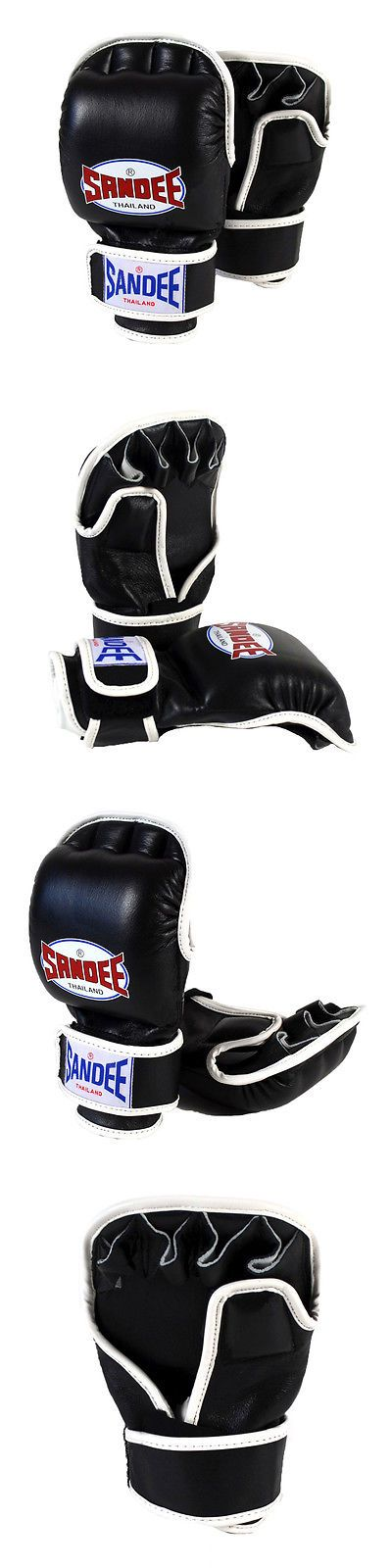 Gloves - Martial Arts 97042: Sandee Leather Mma Sparring Glove - Black/White BUY IT NOW ONLY: $44.95