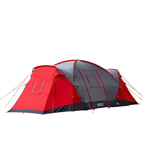 Regatta Atlin 6 Man Hard Wearing Waterproof Three Section Dome Tent With Porch Mens--149.92