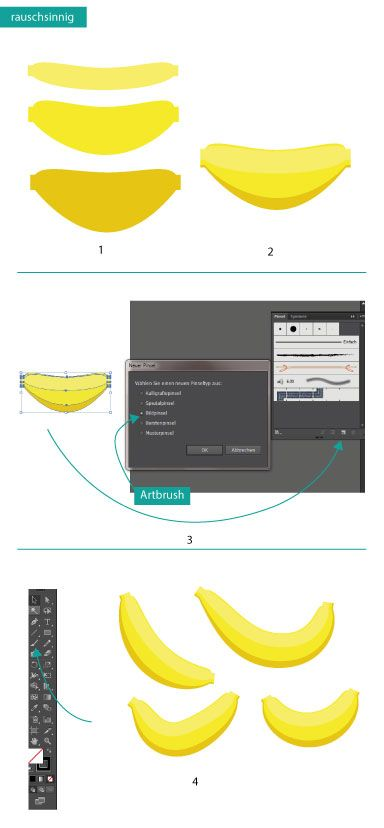 How to draw a banana in Adobe Illustrator #Design #Tutorial #Banane #Zeichnen #AdobeIllustrator #Adobe #Illustrator #Typografie #Obst www.rauschsinnig.de