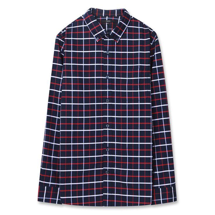 Topten10 Unisex Modern Checks Pattern Navy Oxford Buttondown Cotton Dress Shirts #Topten10