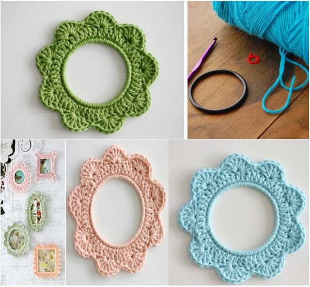 Como hacer Marcos de Fotos de Crochet con Aros - Patrones Crochet