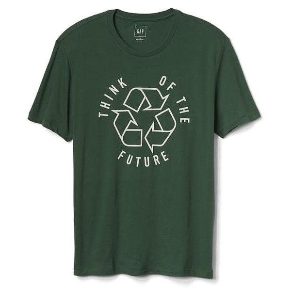 Gap Men Recycle Sign Tee ($30) ❤ liked on Polyvore featuring men's fashion, men's clothing, men's shirts, men's t-shirts, cucumber peel, regular, mens knit shirts, mens crew neck shirts, mens short sleeve straight hem shirts and gap mens shirts