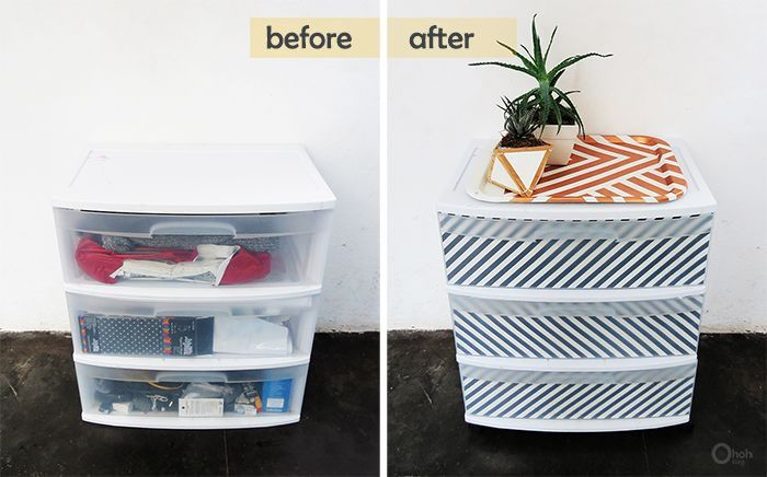 I think you would end up losing some space in the drawer because the front is curved, and the cardboard is not. What about just modpodging the paper to the insides of the drawers? You could do this to the outside of the bin as well if it were a small one.