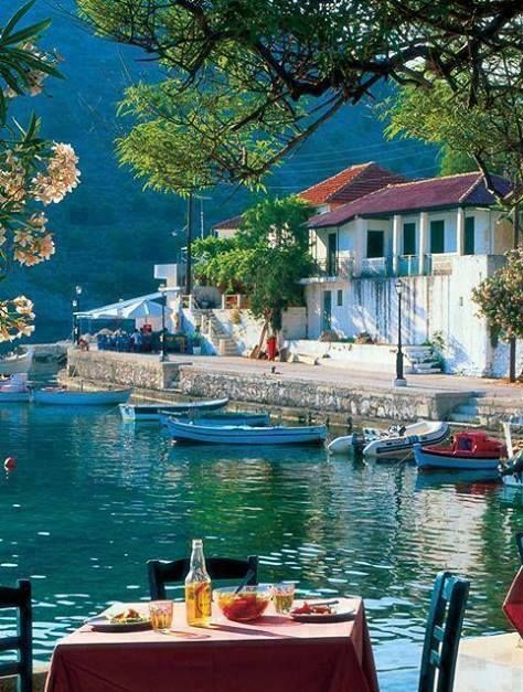 Lunch here would be so perfect ! Assos, Kefalonia Island, Greece.Best Greek islands are all on http://www.exquisitecoasts.com/best-beaches-in-greece.html