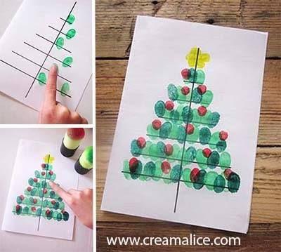Jolies cartes de Noël à faire avec les empreintes de doigts des enfants!