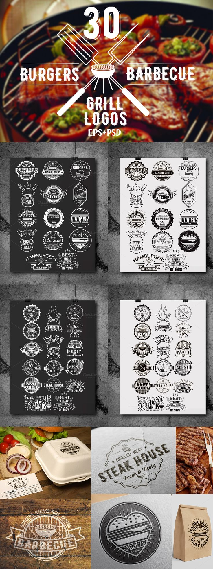 That's 30 vector logo templates that you can use for branding projects, labels, typography and more. If you are looking for a elegant logo, a badge or a simple typography logo for business then this is the set you need! #design Download: https://creativemarket.com/SiberianArt/375882-30-Burgers-and-barbecue-logos-bundle?u=ksioks