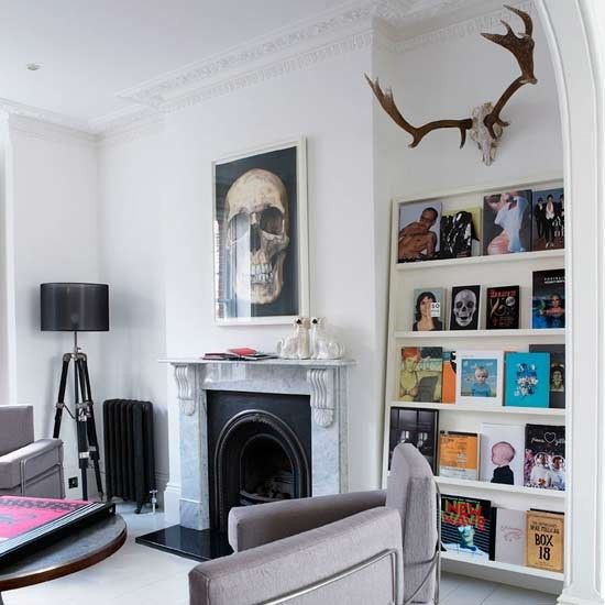 Jo Berryman living room... skulls, tripod lighting, and personality