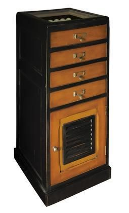 "MF120 Caddie Cabinet 18"" with Wood Glass & Brass Material in Black & Honey Distressted French Finish"