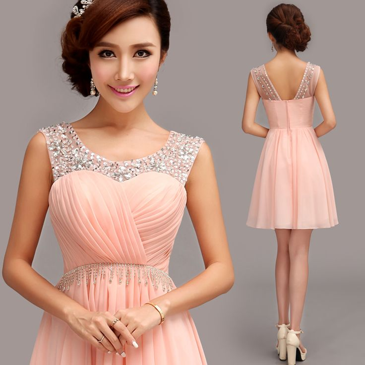 Evening Dress 2014 Fashion Bridal Sexy Wedding Crystal Chiffon Short Pink Party Dresses Sweet Girl Prom Dresses Plus Size US $58.00