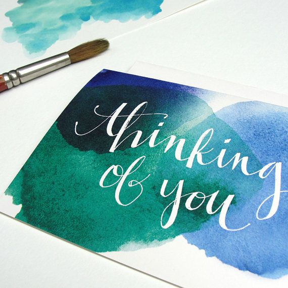 Watercolor and Hand Typography Anniversary, Birthday, New Year Greeting Card Set