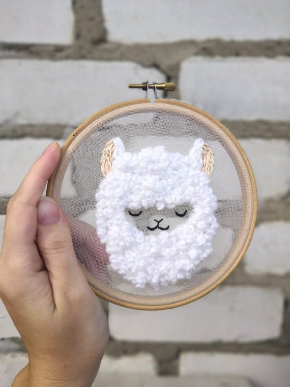 Cute Llama Embroidery Pattern, Modern Embroidery Hoop Art, PDF + video tutorial, Instant Download