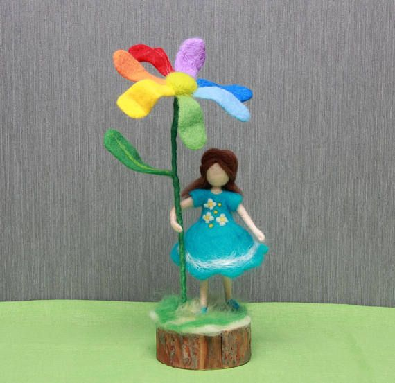 Needle felted doll Girl with flower needle felted Waldorf