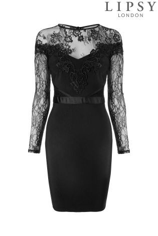 d9201e882b4f Buy Lipsy Lace Top Detail Long Sleeve Bodycon Dress from the Next UK online  shop