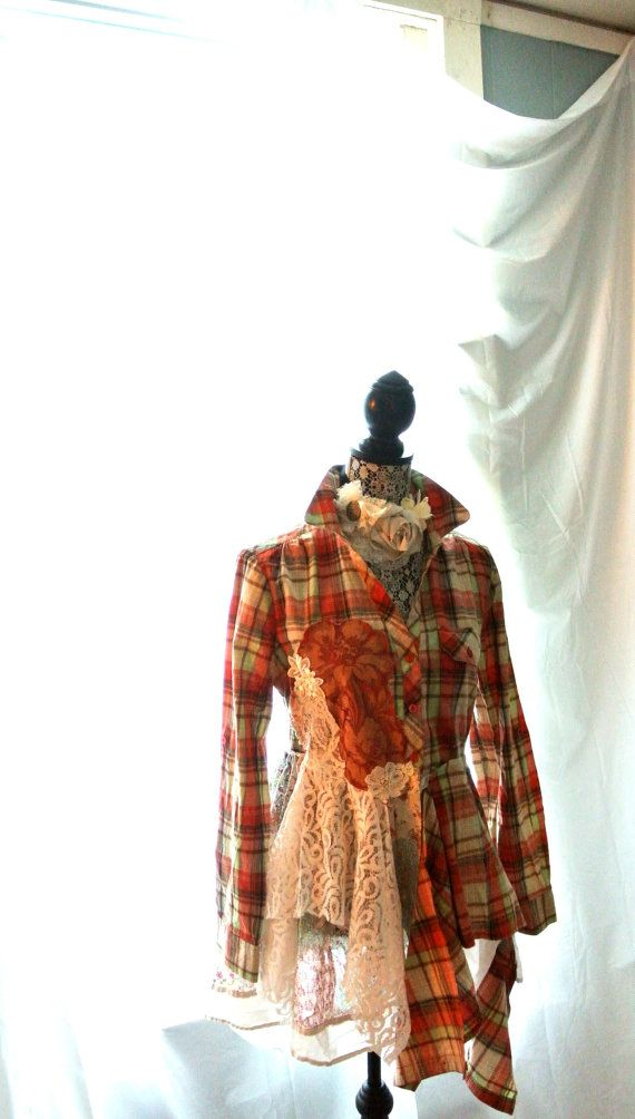 Love the red plaid - Romantic Lagenlook tunic fall flannel tartan by TrueRebelClothing, $86.00