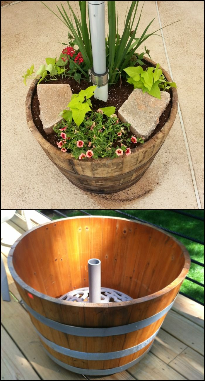 Charming DIY Heavy Duty Patio Umbrella Stand And Planter In One!