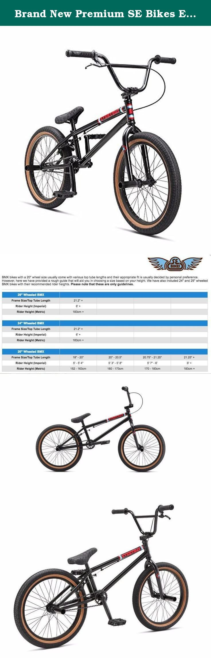 """Brand New Premium SE Bikes Everyday 20"""" BMX Bike 2017 Black. SE Racing Everyday BMX Bike The Everyday is built with some of the same parts as the Wildman, but what sets it apart is the ½"""" longer top tube and upgraded frame design. The integrated headtube, mid bottom bracket and removable brake mounts ensure not only a high-end look but also high-end performance. Specification: Wheelset: SE Alloy 36H 3/8"""" Front & 14mm Semi-Sealed Rear Hubs with Alex Y303 Alloy Rims, 9T Driver Tyres: Innova..."""