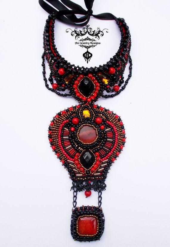 Красное черное ожерелье вышивки Воздушный шар из бисера по AniDandelion