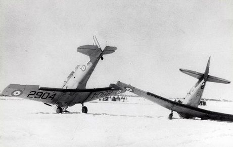 These two Harvards didn't even get into the air. They collided on the ground in Summerside, Prince Edward Island on April 9, 1941. The photograph is from the Jack McNulty Collection belonging to the Canadian Harvard Aircraft Association.