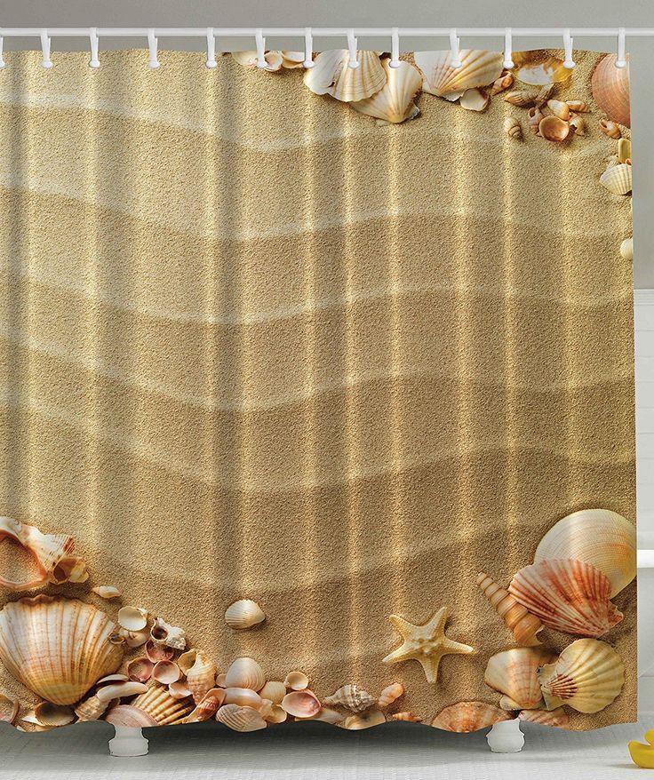 Sandy Beach with Seashells Shower Curtain   Beachfront Decor. 1000  ideas about Beach Shower Curtains on Pinterest   Beach