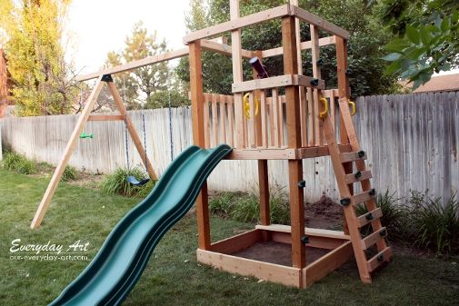 Diy kids outdoor playset projects diy swing play sets for Diy kids swing