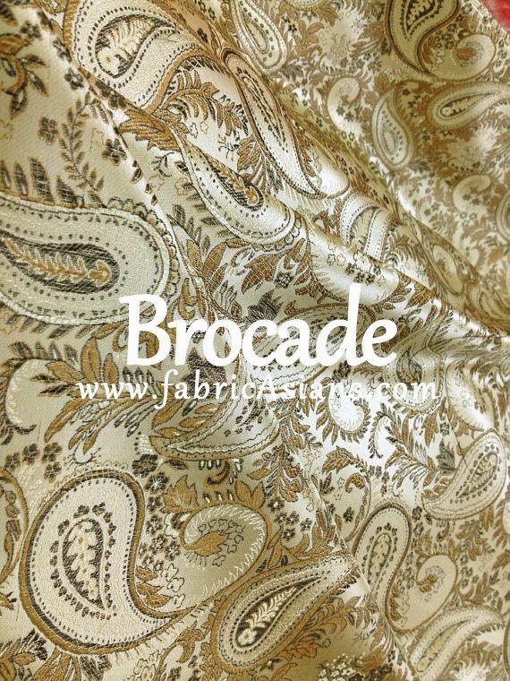tissu asiatique. tissu paisley beige. Vendu par 50cm. SBKD100025 : Tissus Habillement, Déco par fabricasians