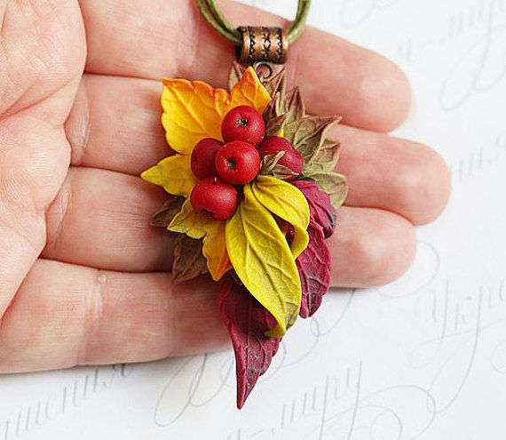 Autumn leaves viburnum polymer clay necklace. Yellow red bronze leaves red…