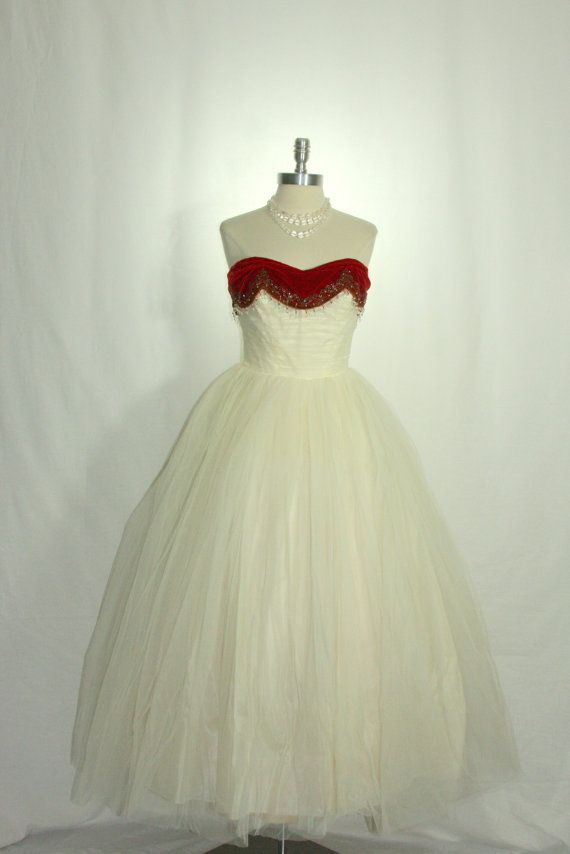 1950's Ivory Tulle Princess Dream - Strapless Red Velvet Beaded Sweetheart Bodice Ball Gown by VintageFrocksOfFancy, $360.00