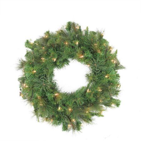 60 inch Pre-Lit LED Canyon Pine Artificial Christmas Wreath - Clear Lights, Green
