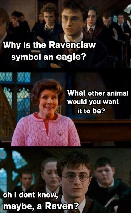 Yeah... Why isn't Ravenclaw's symbol a raven and why isn't griffindor's a griffin