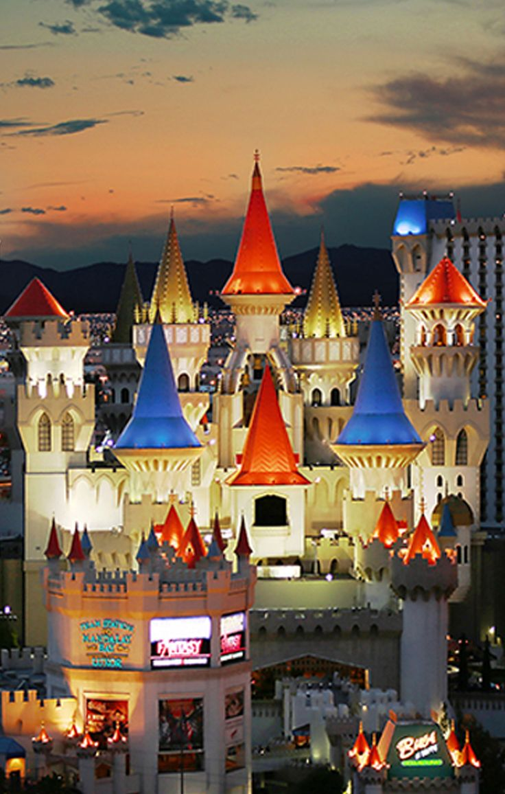 """It may look like a castle, but Las Vegas' Excalibur Hotel and Casino isn't quite a step back into medieval times—it's got a sprawling casino flickering with countless slot machines and table games. It's also packed with entertainment such as a live jousting dinner show and titillating performances of """"Thunder From Down Under"""" #GrouponGetaways"""