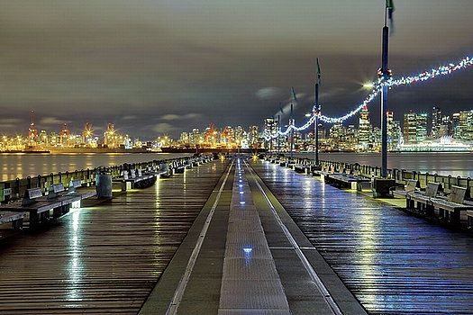 Alex Lyubar Fine Art Photography Light rain on a Christmas night in a beautiful city by Alex Lyubar #AlexLyubarFineArtPhotography #VancouverCity #Downtown #SeaPort #NightScene #ArtForHome #FineArtPrints