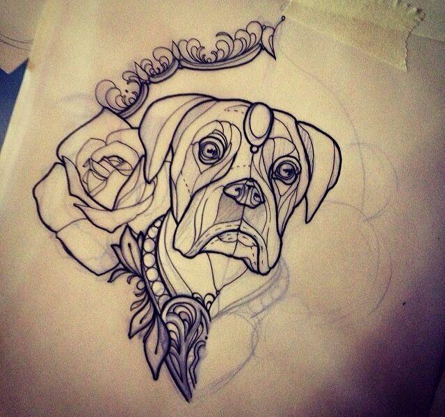 neo traditional tattoo dog