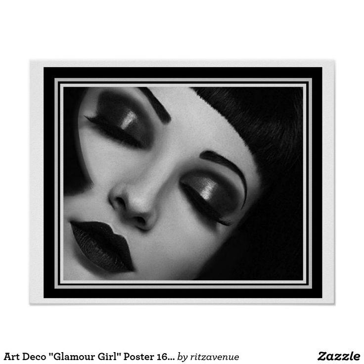 Art deco glamour girl poster 16 x 20