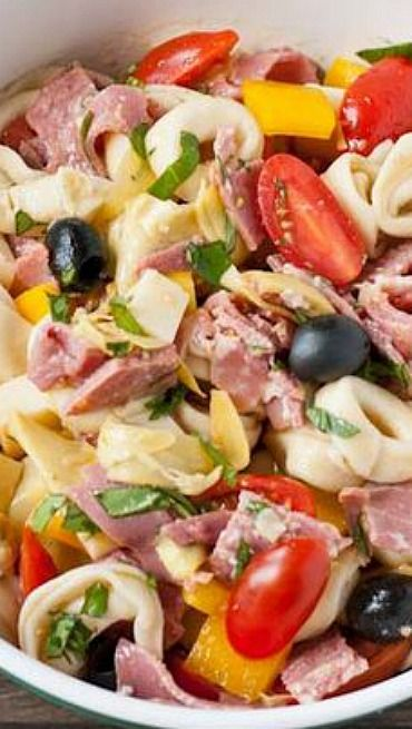 Antipasto Tortellini Salad... Use 1/2 tsp mustard, serve with raspberries! Yum!