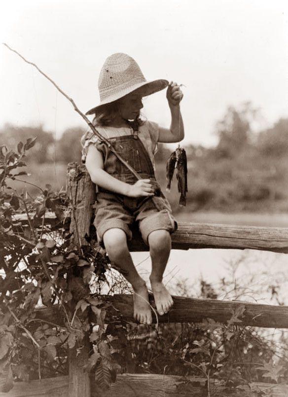 Girl fishing, vintage print.  Cute