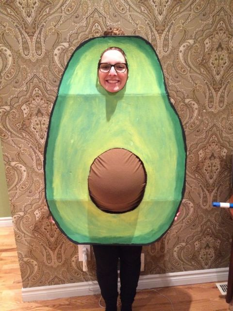 19 Hilarious and Easy Pregnancy Costumes to Help You Win Halloween: PREG-O-CADO. This is definitely a case of good fat! Avocados never looked so adorable thanks to this maternity costume idea. Plus it will remind you to load up on your best friend's amazing homemade guacamole at the party. See more on Imgur.