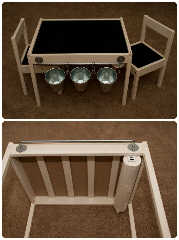 Ikea Hack Latt Kids Table - painted white, chalkboard paint on top, black vinyl on seats, ikea hanger and metal containers, paper roll on bottom (ikea paper is too long and must be cut, instead buy paper roll from lowes in painting drop cloth section for $3), two wood strips on sides to hold paper and for easy tear off. TIP: when painting do NOT lay all parts out and paint.  the bottom pieces do not need paint. Put together without table and seat tops and paint
